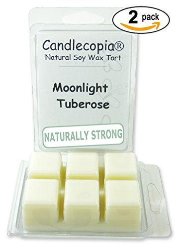 Candlecopia Moonlight Tuberose Strongly Scented Hand Poured Premium Natural Soy Wax Melts, 12 Soy Wax Cubes, 6.4 Ounces in 2 x 6-Packs (Scented Soy Wax Melts Tarts)