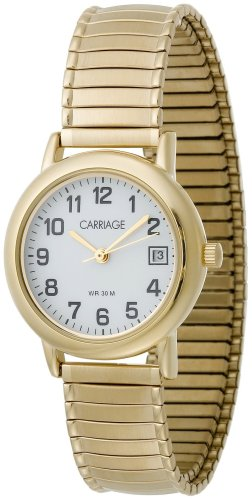 Carriage Womens Classics White Dial Gold Tone Stainless Steel Expansion Band Watch - Carriage Womens Timex