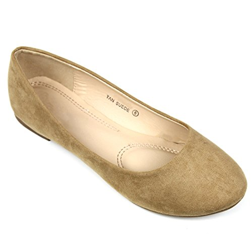 Womens Cute Casual Comfort Slip On Round Toe Ballet Suede Flat Shoes Tan NSg0BeY6