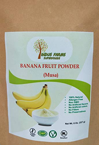 (100% Pure Banana Fruit Powder (8 oz), Eco-friendly pouch, Air tight & Resealable, No Artificial Flavors or Preservatives or Fillers, Vegan-Friendly)