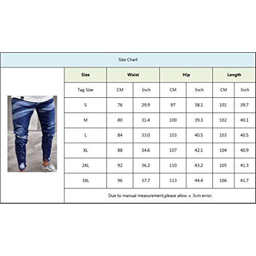 Zip Denim Uomo Magro Wash Slim Con Casual Elastico Kunfang Tasche Afflitto Jeans Pantaloni Laterali Blu Distrutti 8vFcqd