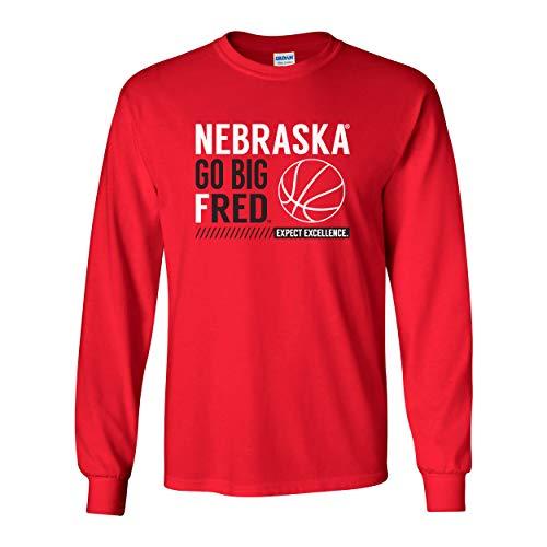 - CornBorn Nebraska Huskers Tee Shirt - Long Sleeve Nebraska Basketball - Go Big Fred - Red - Medium