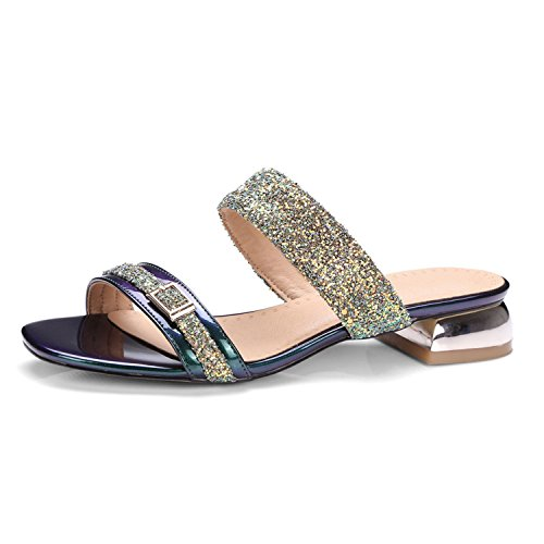 Sandals Heel Large Glitter Gold Huntty Beach 10 Size Gold Low Slippers Causal 9 qxREqTpYw