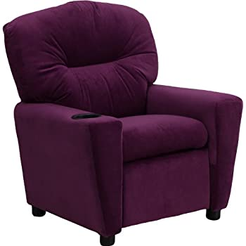 Flash Furniture Contemporary Purple Microfiber Kids Recliner with Cup Holder