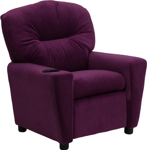 Flash Furniture Contemporary Purple Microfiber Kids Recliner with Cup Holder -