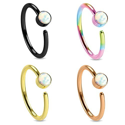 BodyJ4You Body Jewelry Piercing Nose Hoop Ring Stud Stainless Steel 20G (8mm) Created-Opal 4PC