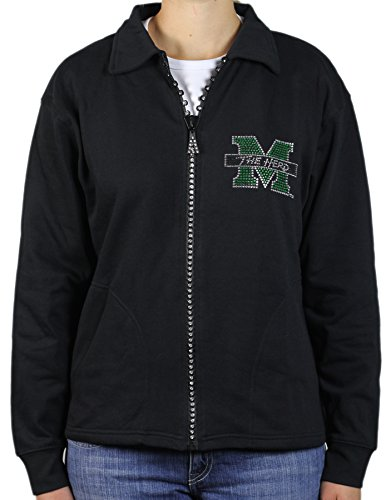 NCAA Marshall Thundering Herd Crystal Zipper Jacket, X-Large, Black