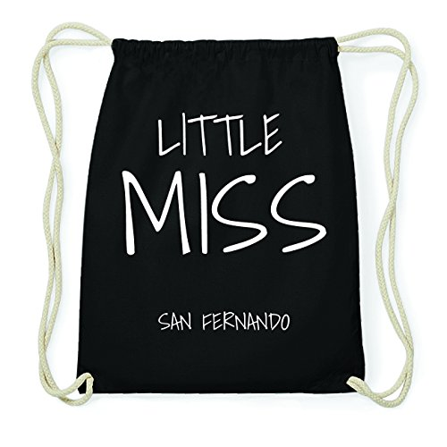 JOllify SAN FERNANDO Hipster Turnbeutel Tasche Rucksack aus Baumwolle - Farbe: schwarz Design: Little Miss