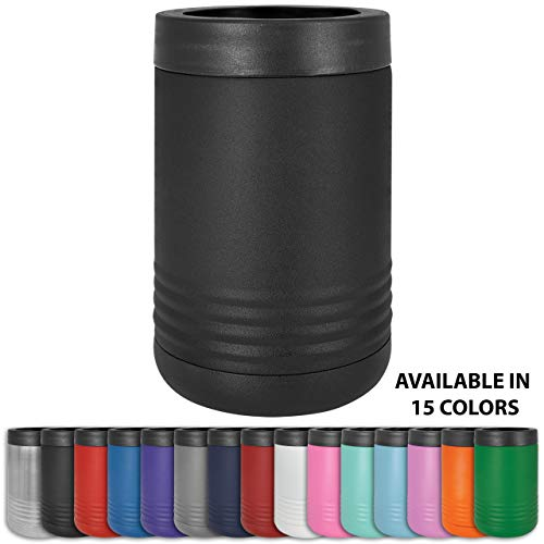 Clear Water Home Goods - 12 oz Stainless Steel Double Wall Vacuum Insulated Can or Bottle Cooler Keeps Beverage Cold for Hours - Powder Coated Black
