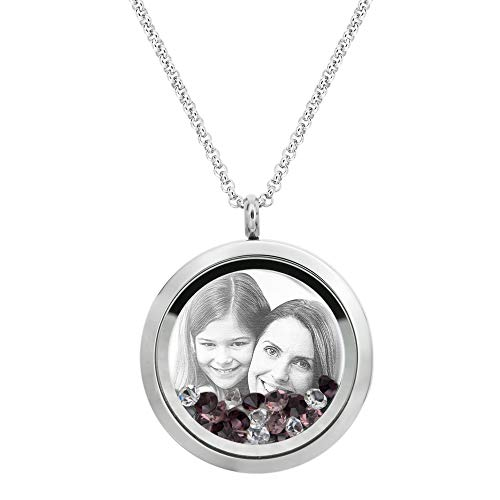 Dreambell Stainless Steel Personalized Laser Engraved Photo Message Text Custom 30mm Round Floating Glass Locket Crystal Pendant Chain Necklace Love Living Memory ()