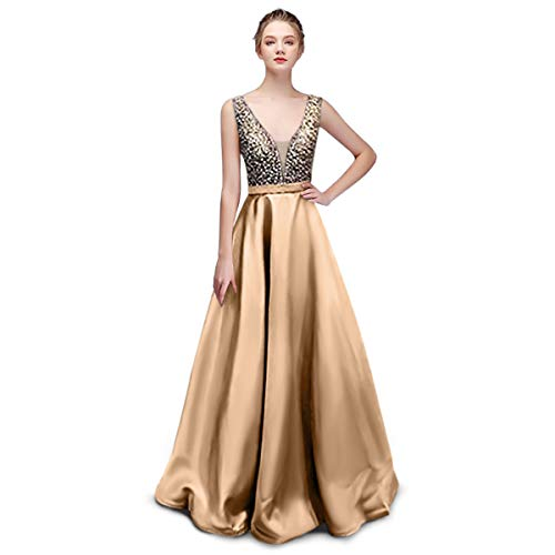 Nanchor Prom Dresses Evening Gown Formal Sequin Satin Dresses V Neck Long for Wedding Women Champagne US2