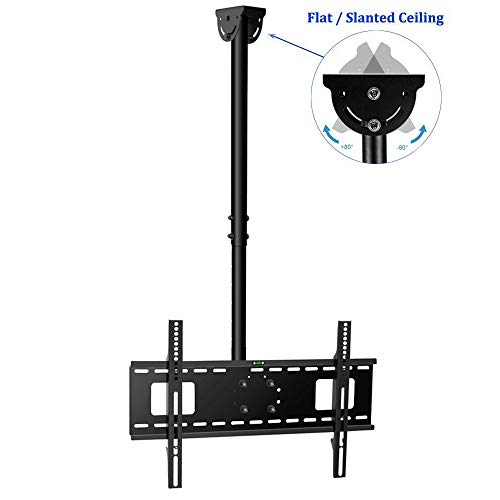 Vemount Adjustable Ceiling TV Mount Tilting Fits Most 32-65″ LCD LED Plasma Monitor Flat Panel Screen Display VESA up to 600×400 with HDMI Cable