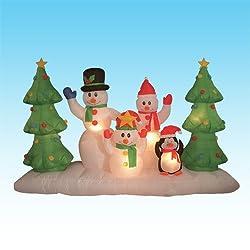 8 Foot Long Inflatable Snowmen Family w/ Pet Penguin Around...