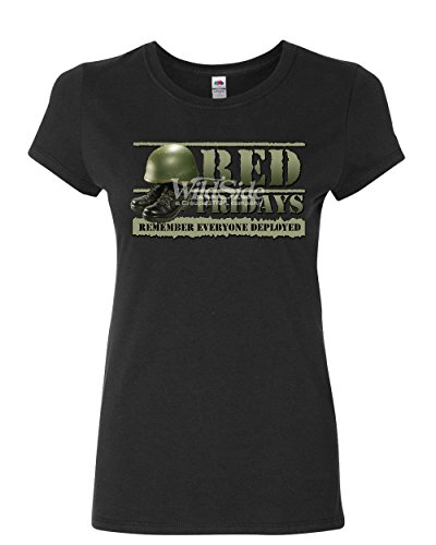 Red Fridays Remember Everyone Deployed Women's T-Shirt Support US Troops Shirt Black L