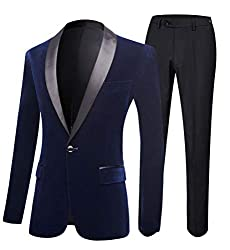 Navy One Button 2 PC Men's Suits Slim Fit Velvet Blazer Groom Tuxedos Wedding Suits