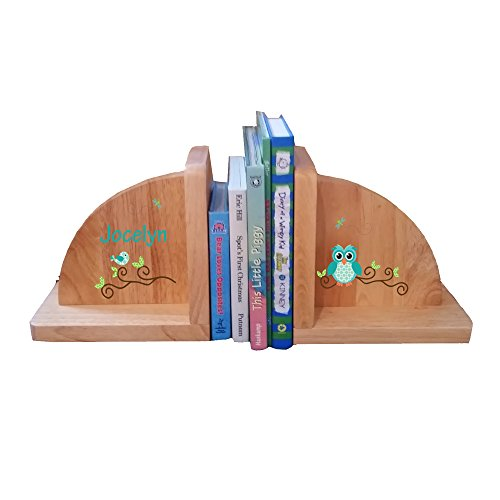 Personalized Gingham Owl Natural Childrens Wooden Bookends by MyBambino