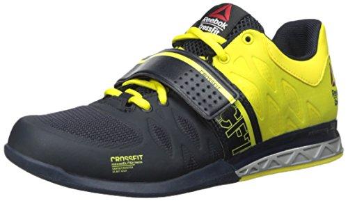 Shoes Stinger (Reebok Men's R Crossfit Lifter 2.0 Training Shoe, Navy/Stinger Yellow/Metallic Silver, 8.5 M US)