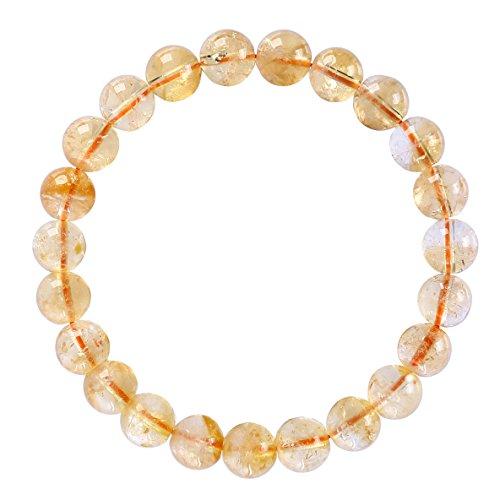 BRCbeads Gemstone Bracelets Natural Citrine Genuine Gemstones Birthstone Handmade Healing Power Crystal Beads Elastic Stretch 8mm 7.5 Inch with Gift Box - 8mm Crystal Genuine