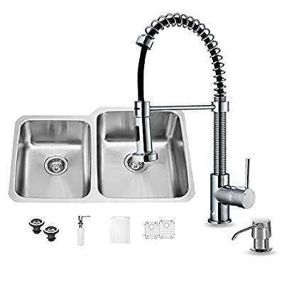 VIGO 32 inch Undermount 60/40 Double Bowl 18 Gauge Stainless Steel Kitchen Sink with Edison Chrome Faucet, Two Grids, Two Strainers and Soap Dispenser
