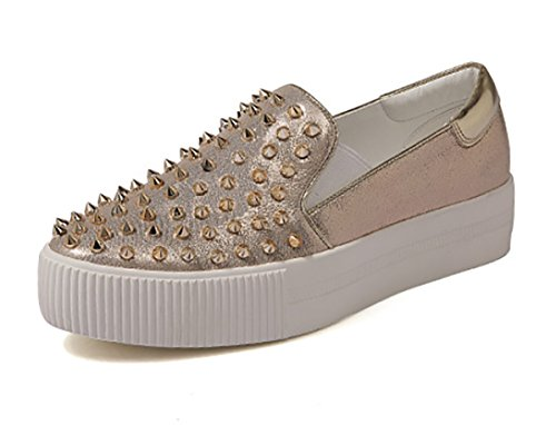 omfy Fabric High Skaters Flatform Slip-on Loafers Shoes Fashion Sneakers (7, Gold) ()