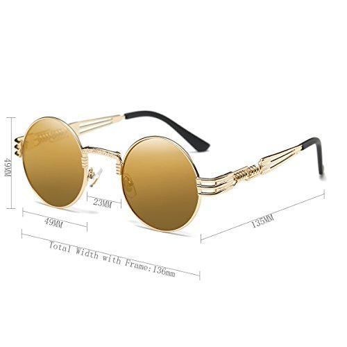 Dollger John Lennon Round Sunglasses Steampunk Metal Classic Frame Mirror Lens(Blue Mirror Lens+Silver Frame) w8uWPNISdR