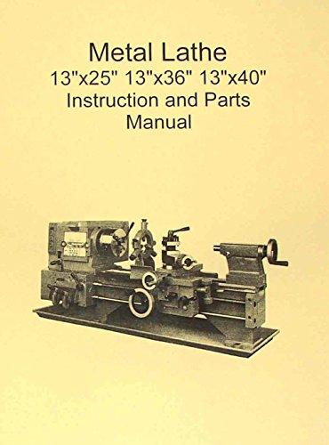 Metal Lathe 13x25 13x36 13x40 Manual JET, Enco, Grizzly
