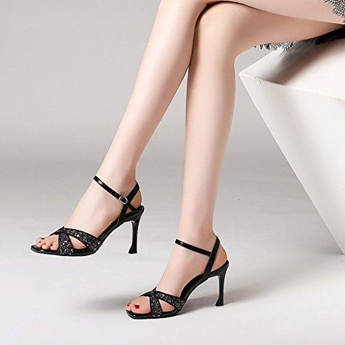 Chaussures Sexy Ouvert Été Talons Minces Sandales Femme De Talons Pantoufles Tiges Bout Mode À Paillettes Noir vPCqqw80