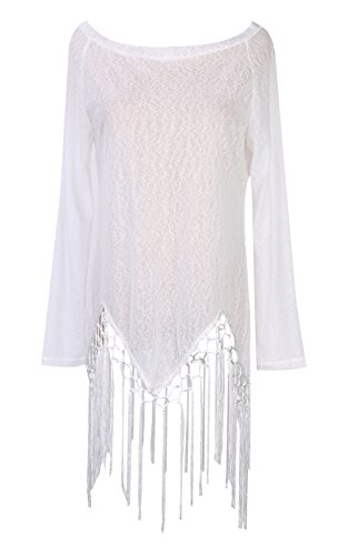 Blouses Top s One Aliven Off Shirt Sleeve Tassel Women White Shoulder White Long 1qZHvAPw