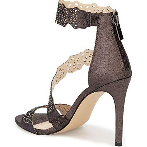 Modelos Rhinestone Tacones Con Gray Europeos Sandalias Cremallera De Y Zapatos Americanos Mujer Pu Anillo Artificiales Banquete Hrn Aguja Hueco P6R8FwxF