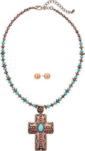 M&F Western Women's Copper Turquoise Beaded Cross Necklace/Earrings Set Copper/Turquoise One - Beaded Set Cross Necklace