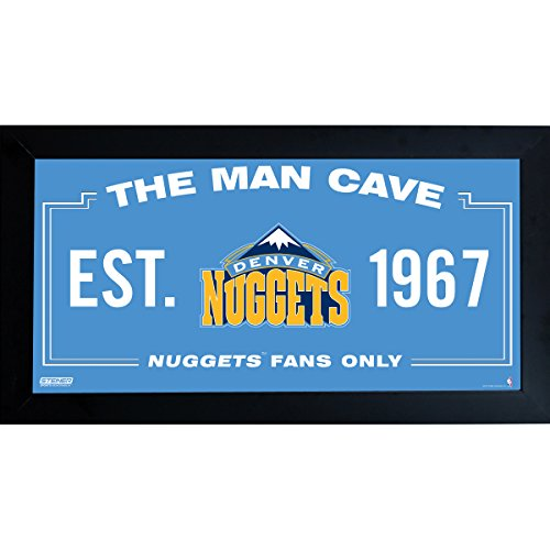 Steiner Sports NBA Denver Nuggets Man Cave Sign 6 x 12 Framed ()