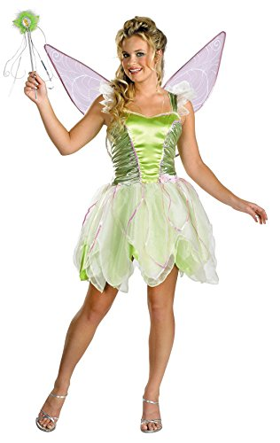[UHC Women's Tinker Bell Deluxe Disney Fairy Fancy Halloween Costume, One Size (12-14)] (Adult Tinkerbell Fairy Costumes)