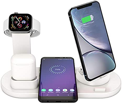 Estación de Carga Inalámbrica, Base de Carga 6 en 1 para Apple Watch y Airpods, Cargador Inalámbrico Rápido Compatible con iPhone X/XS/XR/8/8 Plus, ...