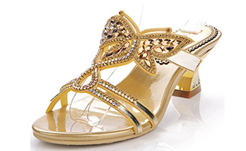 CRC Womens Unique Floral Sparkle Rhinestone Microfiber Prom Wedding Party Sandals Slippers Gold N9MlHZaS