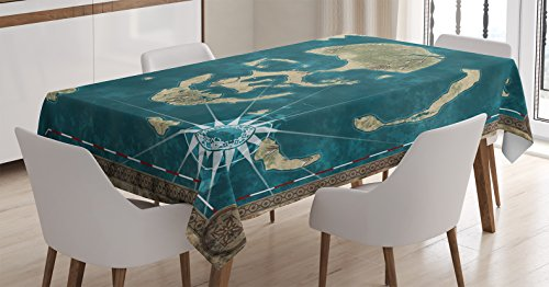 Decor Tablecloth, Skull Theme Marine Nautical Skeleton Head Stylized as Islands Geographic Navigation, Rectangular Table Cover for Dining Room Kitchen, 60x84 Inches, Green Blue ()