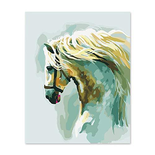 Agolong SegelStiefel DIY Malen nach Zahlen Malen nach Zahlen Kits Malen auf Leinwand Digitales Ölgemälde abstraktes Pferd Wand Dekor Mit Rahmen 40x50cm B07MFV9QWC | Roman