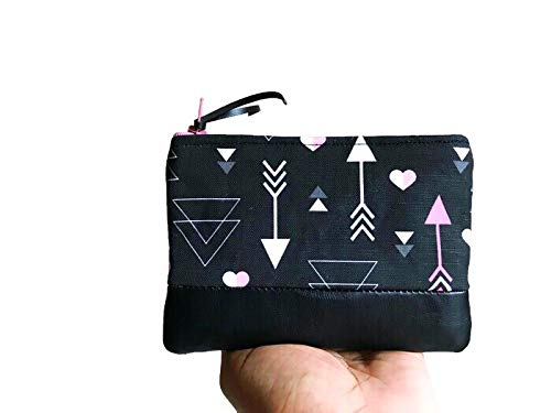 Leather Coin Pouch, Coin Purse, Heart and Arrows Small Wallet, Change Purse for Women by 144 Collection