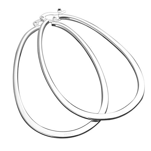 Polished Flat Round Hoop (BODYA Women's Silver Plated Plain Thin Flat Polished Round Huge Hoop U Earrings Oval Large Piercing)
