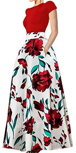 Delcoce Women Short Sleeve Tops Skirt Set Floral Stripe Full Long Maxi Skirts Red M