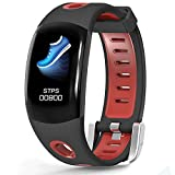 LATITOP Fitness Tracker Large 3D Color Screen with Heart Rate Monitor, Pedometer, Calorie Burned Counter, Sleep Monitor, Stopwatch, IP67 Waterproof Smart Watch for Women Men, Compatible with Android IOS (Red)