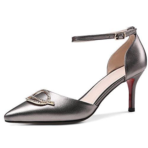 reputable site 6be2c b8e85 Mujer Nine Tacón Aguja Seven Para Tobillo Cuero Plateado Zapatos  Puntiagudos Moda Correa Con De 7gr7q6Yw