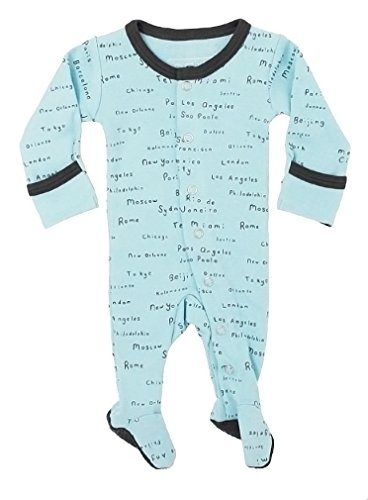 L'ovedbaby Unisex-Baby Organic Cotton Footed Overall (3-6 Months, Aqua City Names) ()