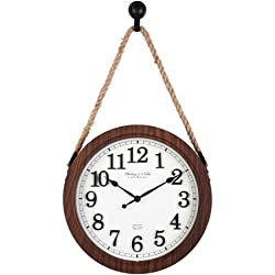Simple Design Better Homes and Gardens 12 Hanging Rope Wall Clock Glass Lens Plastic Faux Wood Grain Frame with Distressed Dial Mirror Accents, Oil Rubbed Bronze Hanger and Accents
