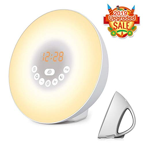 - FITMAKER Sunrise Alarm Clock, Wake Up Light with 6 Nature Sounds, FM Radio, Color Light, Bedside Sunrise Simulator (White)