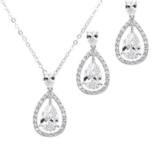 Lavencious Teardrop Open Dangle Jewelry Set Necklace & Earrings Trendy AAA Cubic Zirconia for Women Wedding Party (Silver)
