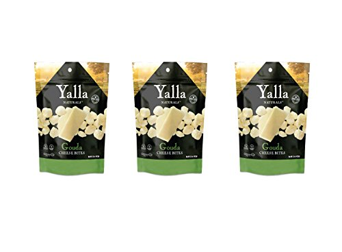Crunchy Bites Cheese Snacks 3 Pack - Flavorful Gouda - 100% Cheese - High Protein and Calcium, Gluten Free, No-Low Carb, Kosher - 1.5oz - by Yalla Naturals