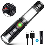 LED Torch USB Rechargeable Torch Super Bright COB Work Torches Workshop Flashlight (Including 18650 Battery) Small Lightweight Walking Powerful Tactical Torch for Outdoor Camping Hiking Sp