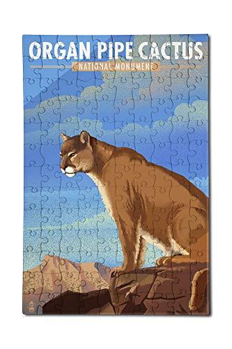 (Organ Pipe Cactus National Monument, Arizona - Mountain Lion - Lithograph (12x18 Premium Acrylic Puzzle, 130 Pieces))