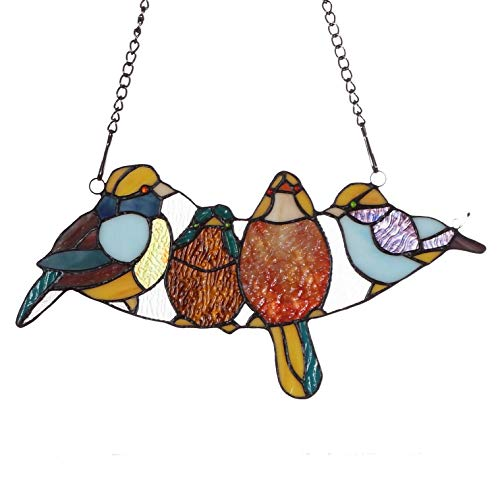 (Bieye W10018 15 inches Tropical Bird Tiffany Style Stained Glass Window Panel with Hanging Chain)