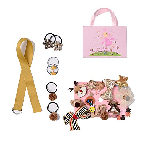 Eyelashes DanceBaby Girls Hair Clips Accessories Cute Bows Kits Elastic Hair Ties Hairpins Set with Gift Box For Baby Girls Teens Toddlers,24-72 pcs, Gold, Small